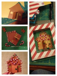 "I handmade the Gingerbread house and decorated it with some more stickers. I used glitter and Mod Podge to decorate the stickers and a glue gun and more of the snowy glitter to make the ""frosting"" on the roof. The little door even opens."