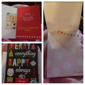 This is from Karolina. Personalized cards and paper! I love love love it!